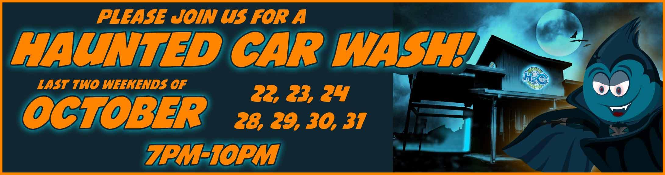 Halloween haunted car wash - H2O Express Car Wash